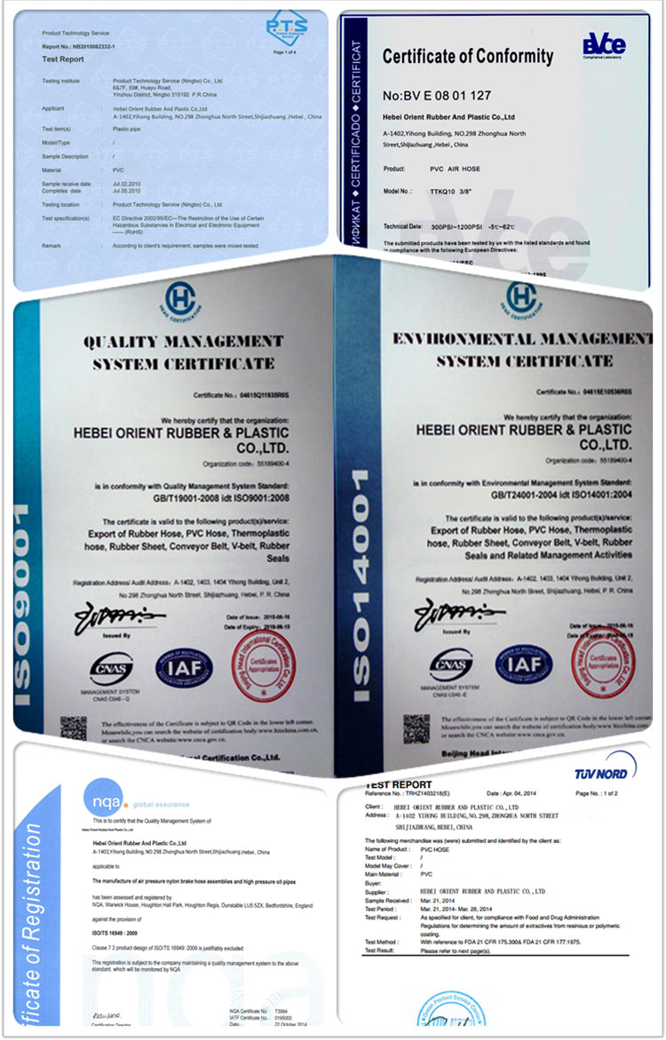 Certificate of pu pneumatic hose
